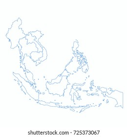 asian AEC map outline country