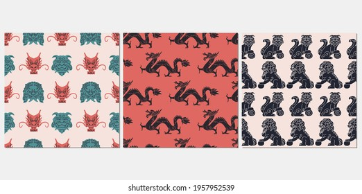 Asian aesthetic seamless pattern vector set. Japanese mythology texture design. Komainu dogs, lion statues, ancient dragon collection background. Old cultural elements design wrapping.