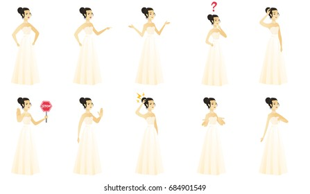 Asian angry bride screaming. Full length of angry bride in a white dress clenching fists. Angry bride shouting with raised fists. Set of vector flat design illustrations isolated on white background.