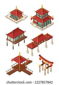 Asian architecture isometric. Traditional chinese and japan houses buildings roof vector 3d illustrations