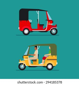 Asian auto rickshaw or baby taxi vector transport