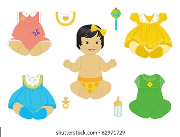 asian baby-girl with set of clothes