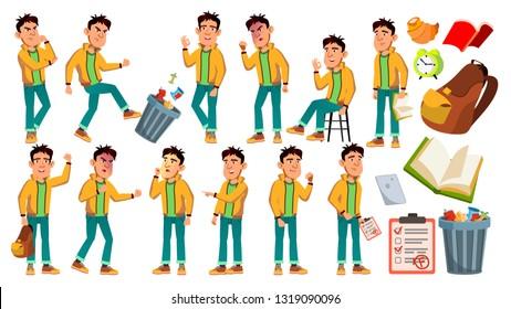 Asian Bad Boy Schoolboy Vector. High School Child. Children Study. Smile, Activity, Beautiful. For Web, Brochure, Poster Design. Isolated Cartoon Illustration
