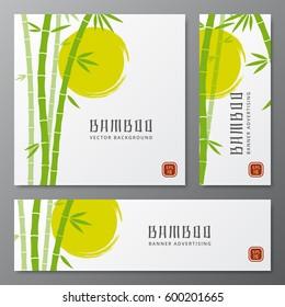 Asian bambu threes cards or japanese bamboo banners vector illustration