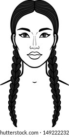 Asian beauty. Animation portrait of a beautiful girl with braids .  Vector illustration isolated on a white background. Print, poster, t-shirt, card.