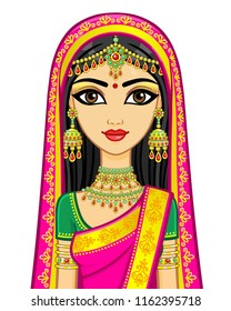Asian beauty. Animation portrait of the young Indian girl in traditional clothes. Fairy tale princess. Vector illustration isolated on a white background.