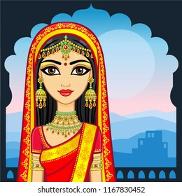 Asian beauty. Animation portrait of the young Indian girl in traditional clothes. Fairy tale princess. Background - the palace, a night mountain landscape. Place for the text. Vector illustration.