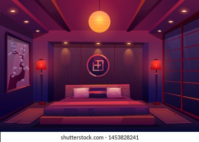 Asian bedroom at night, chinese, japanese eastern room interior in evening with double king size bed, hierogliph symbol, sakura picture on wall, traditional sliding doors. Cartoon vector illustration