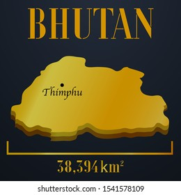 Asian Bhutan golden 3d solid country outline silhouette, realistic piece of world map template, for infographic, vector illustration, isolated object, background. From countries set
