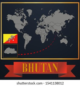 Asian Bhutan national flag, realistic globe world map blank template, solid country outline silhouette, atlas for infographic, vector illustration set, isolated object, background