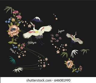 asian birds and flowers illustration