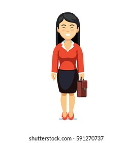 Asian black haired business woman standing with suitcase in hands. Full-length portrait of young office worker. Flat style modern vector illustration isolated on white background.