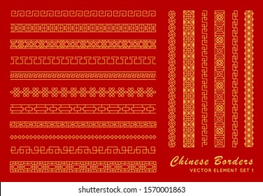 Asian border set in vintage style on red background. Traditional chinese ornaments for your design. Vector golden japanese pattern. Artwork graphic, asian culture decoration