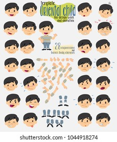 Asian boy in a swimsuit. Twenty eight expressions and basics body elements, template for design work and animation. Vector illustration to Isolated and funny cartoon character.