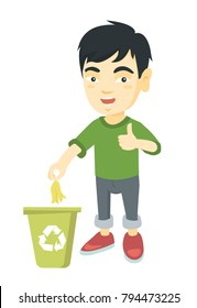 Asian boy throwing banana peel in recycling bin. Boy putting banana peel in trash bin with recycling sign and giving thumb up. Vector sketch cartoon illustration isolated on white background.