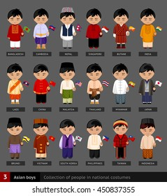Asian boys in national dress. Set of asian men dressed in national clothes. Collection of people in traditional costume. Vector flat illustration.