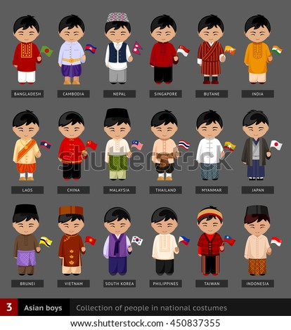 e41143e121b6d Asian boys in national dress. Set of asian men dressed in national clothes.  Collection of people in traditional costume. Vector flat illustration. -  Vector