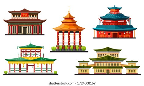 Asian buildings, Chinese temples and pagodas icons