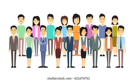 Asian Business Casual People Group Flat Vector Illustration