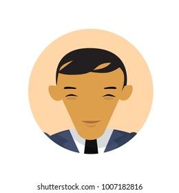 Asian Business Man Profile Icon, Chinese Or Japanese Businessman Avatar Isolated Flat Vector Illustration