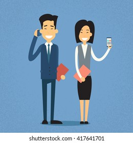 Asian Business Man Talk On Cell Smart Phone Call, Businesswoman Hold Mobile, Asia Businesspeople Flat Vector Illustration