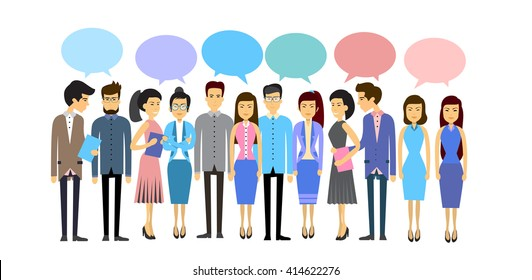 Asian Business People Group Crowd With Chat Bubble Social Network Communication Concept Flat Vector Illustration