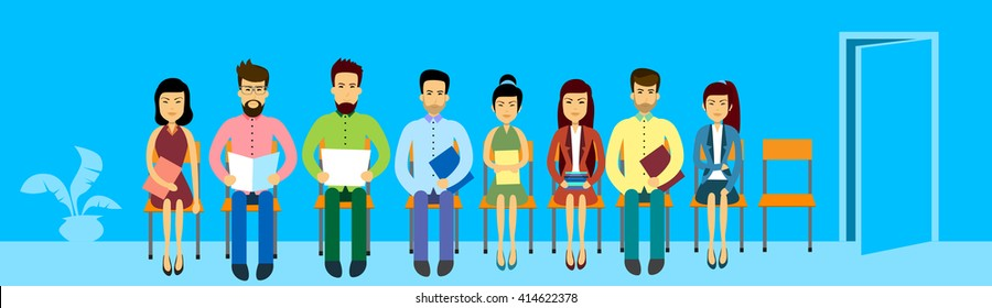 Asian Business People Group Sitting In Line Queue Door Asia Businesspeople Banner Flat Vector Illustration