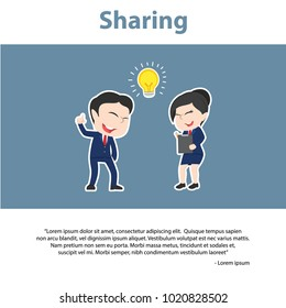 Asian Business People Sharing Infographic