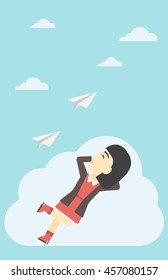 An asian business woman lying on a cloud and looking at flying paper plane. Business woman relaxing on a cloud. Vector flat design illustration. Vertical layout.