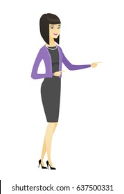 Asian business woman pointing to the side. Business woman pointing her finger to the side. Business woman pointing to the right side. Vector flat design illustration isolated on white background.
