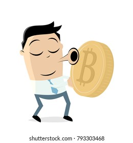asian businessman loves bitcoin