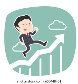 asian businessman running on raising graphic
