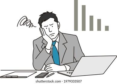 Asian businessman worried about work