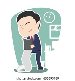 asian businessman writing document illustration design