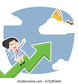 asian businesswoman riding graph to trophy on clouds