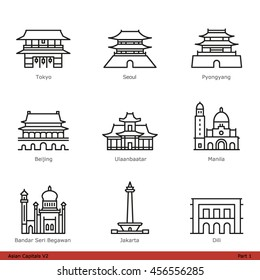 Asian Capitals (Part 1) - Line Style Icon Set