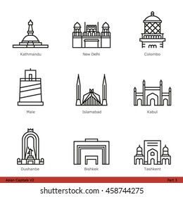 Asian Capitals (Part 3) - Line Style Icon Set