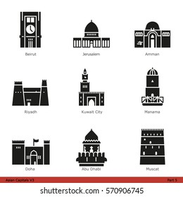 Asian Capitals (Part 5) - Glyph Icon Set