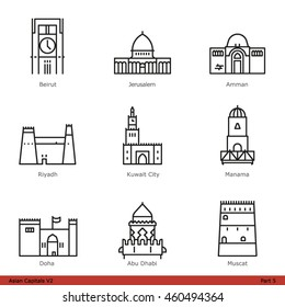 Asian Capitals (Part 5) - Line Style Icon Set