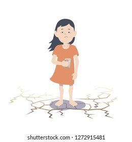 Asian child suffering from lack of water. Flat vector illustration.