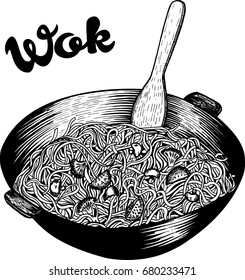 Asian Chinese food noodles cooked in wok pan, hand drawn black and white vector illustration, engraved art scratch drawing, good for fastfood restaurant menu or advertisement.