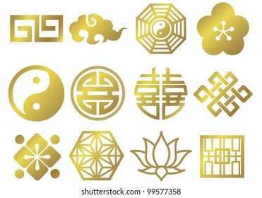 asian chinese japanese decorative icons gold