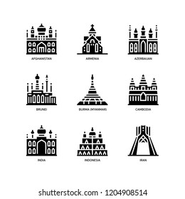 Asian cities and counties landmarks icons set 1