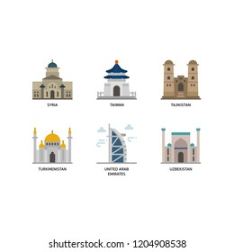 Asian cities and counties landmarks icons set 6