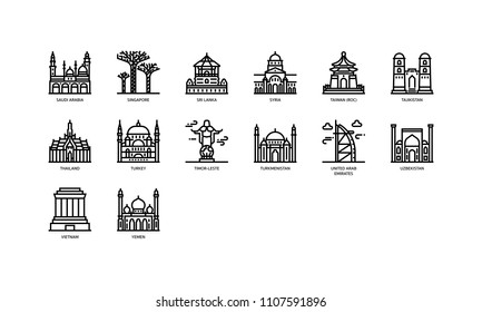 Asian cities landmarks icons