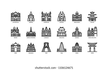 Asian cities landmarks icons set 1