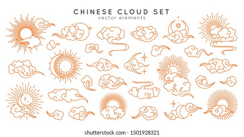 Asian cloud set with moon, sun and stars. Vector collection in oriental chinese, japanese, korean style. Line hand drawn illustration isolated on white background. Retro elements set.