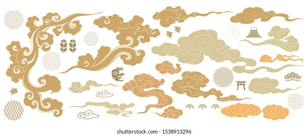 Asian cloud symbols in oriental style. Chinese new year icons. Japanese pattern vector. Wave, birds, bamboo, door, pine tree and elements.