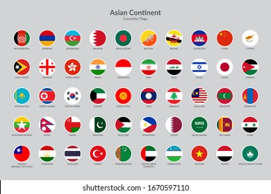 Asian Continent countries flag icons collection