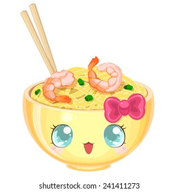 Asian cooking: kawaii udon noodles with shrimp and onions in a yellow bowl